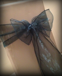 Teal organza bow, Chair covers Glasgow, Lily Special Events
