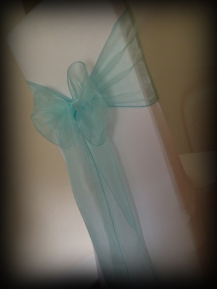 Tiffany blue organza bow, Chair covers Glasgow, Lily Special Events