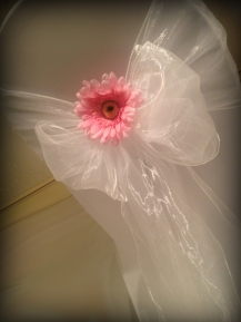 White bow with gerbera, Chair covers South Lanarkshhire, Lily Special Events