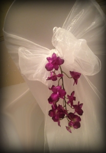 White bow with purple petals, Chair covers South Lanarkshhire, Lily Special Events