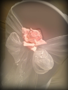 White wedding chair bow with rose, Chair covers South Lanarkshhire, Lily Special Events