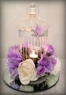 White-cream and lilac roses birdcage centrepieces by Lily Special Events - East Kilbride, Glasgow, Centrepieces and chair covers - wedding venue decor