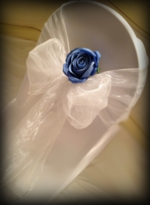 White organza bow with blue rose, Chair covers South Lanarkshhire, Lily Special Events