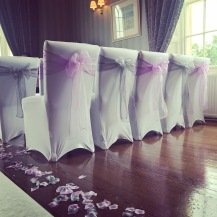 Ross Priory, Loch Lomond, scottish wedding venue ceremony dressed by Lily Special Events, chair covers and aisle runner