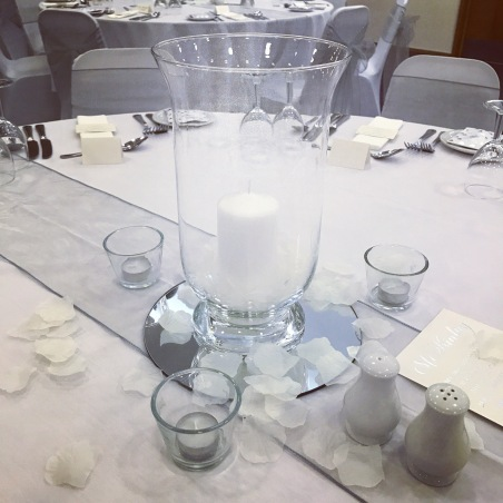 Hurricane vase centrepieces, Machrihanish Airbase, Lily Special Events