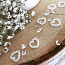 Scatter crystals and pearl hearts from Lily Special Events