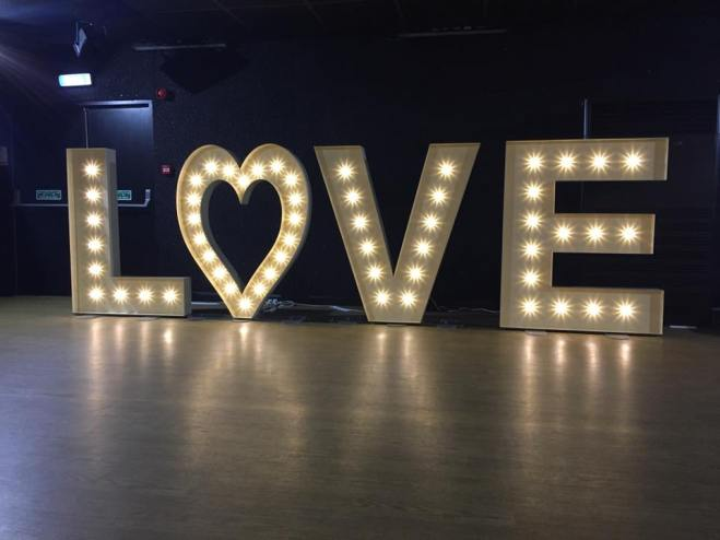 5ft LED love sign, heart, from Lily Special Events