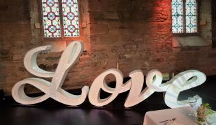 Italic fibre optic Love sign, Lily Special Events, hire Lanarkshire