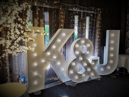 Initials 5ft led letters, Lily Special Events, Lanarkshire hire