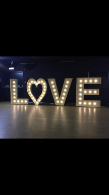 Led love letters, Lily Special Events, hire Glasgow