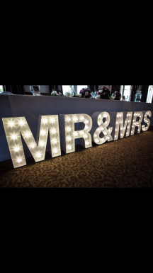 Mr and Mrs sign topper, led letters, Lily Special Events